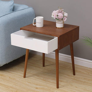 White Side End Table Nordic Durable Nightstand with Drawer - Targen