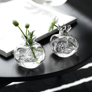 Targen Pomegranate Clear Glass Bud Vase
