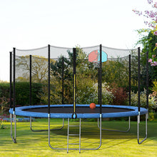 Load image into Gallery viewer, 15FT Blue Round Safety Trampoline with Basketball Hoop and Ladder