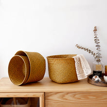 Load image into Gallery viewer, Storage Basket Nordic Plant Flowerpot Hand-knitted Folding Flowerpot - Targen