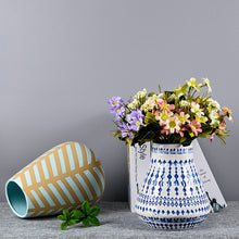 Load image into Gallery viewer, Mug-shaped Striped Vase Creative Ceramic Flower Pot Decorative Ornaments - Targen