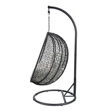Load image into Gallery viewer, Patio Swing Chair with Stand in Beige Fabric & Black Wicker - Targen
