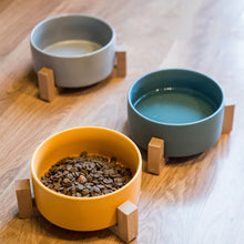 Load image into Gallery viewer, Pet Ceramic Elevated Raised Cat Bowl With Wood Stand Dogs Feeding Bowl - Targen