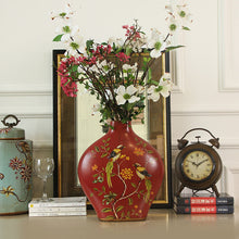 Load image into Gallery viewer, American Style Ceramic Red Flower And Bird Arrangement Vase - Targen