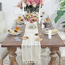 Load image into Gallery viewer, Beige Crochet Lace Table Runner With Tassel Cotton For Wedding Deco Coffee Bed - Targen