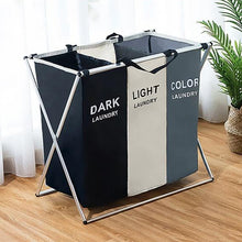 Load image into Gallery viewer, X-shape Collapsible Dirty Clothes Laundry Basket 2/3 section Foldable Organizer - Targen