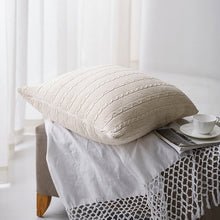 Load image into Gallery viewer, Pilllow Cover Solid Beige Kniited Pillowcase Wool For Backrest - Targen