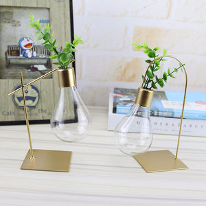 Vintage Bulb Vases with Gold Metal Tray