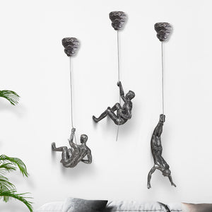 All-In-One Package Industrial Style Sculpture Resin Iron Climbing Men - Targen