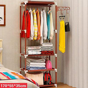 Simple Metal Iron Wardrobe Floor Standing Coat Rack Clothes Hanging Racks Storage Shelf