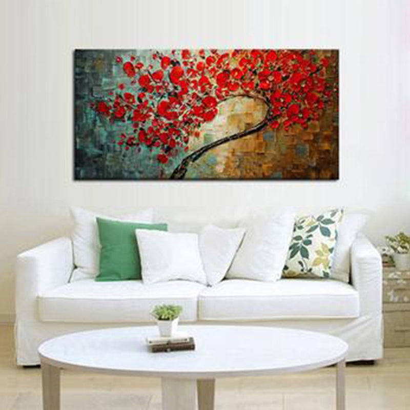 Oil Painting Abstract Red Flower Tree Knife On Canvas - Targen