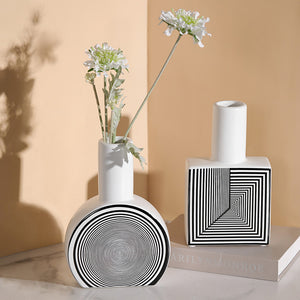 Creative Ceramic Simple Geometric Lines Flower Vases - Targen