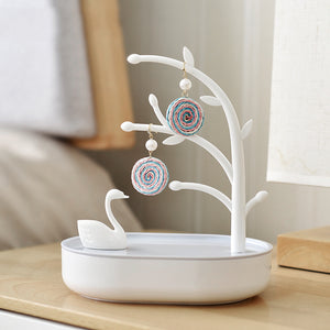 Tree Jewelry Organizer Swan Ring Necklace Earring Holder Storage Box - Targen