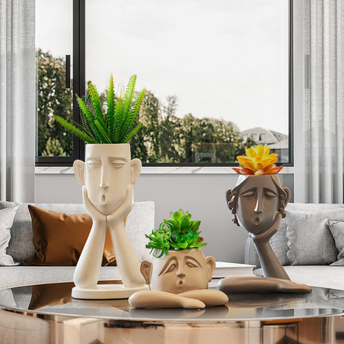 Creative Human Face Vase Statue Abstract Art Vase