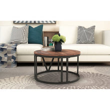 Load image into Gallery viewer, Rustic Coffee Table Old Elm Wood Desktop With  Iron Legs - Targen