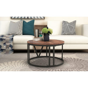 Rustic Coffee Table Old Elm Wood Desktop With  Iron Legs - Targen