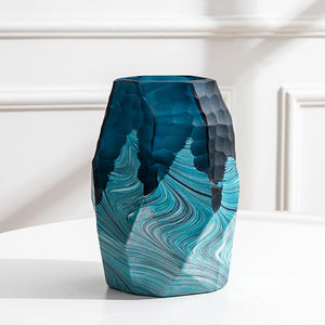 Water Ripple Green Glass Vase