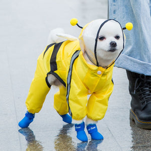 Dog Raincoat Rain Boots Set Hooded and Four Leg Pet Raincoat