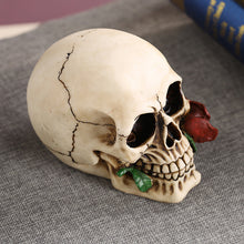 Load image into Gallery viewer, Modern Resin Skull Decoration With Rose In Mouth - Targen