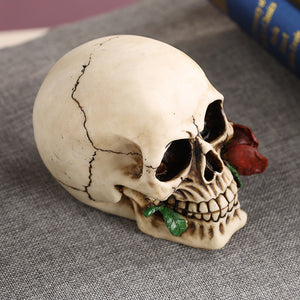 Modern Resin Skull Decoration With Rose In Mouth - Targen