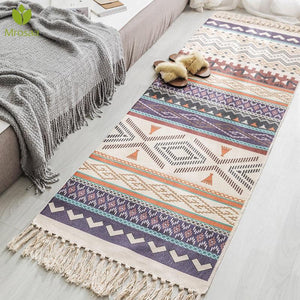 Hot Retro Bohemian Hand Woven Cotton Linen Carpet Tassel Rug - Targen