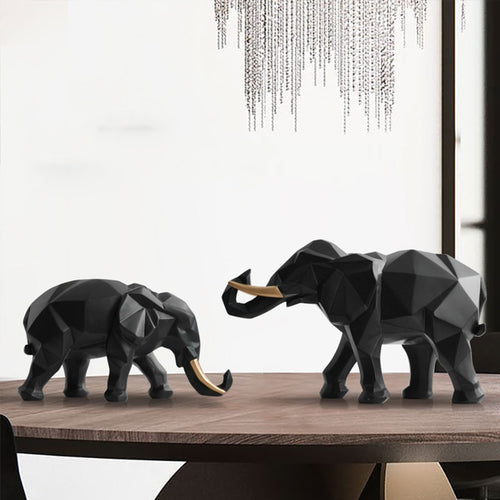 Resin Elephant Figurine 2/set For Home Office - Targen