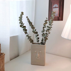 Ceramic White Portrait Flower Simple Decorative Table Vase - Targen