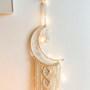 Bohemian Chic Macrame Wall Hanging Tapestry Mandala Moon Dreamcatcher Wall Decor - Targen
