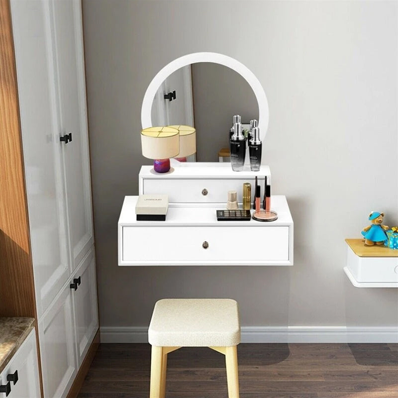Makeup Dresser White Table Wall Mounted Vanity Mirror with 2 Drawer - Targen