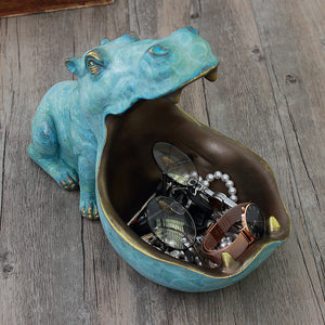 3D Hippo Statue Desk Animal Storage Box - Targen