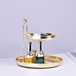 Double-Layer Golden Storage Tray Cosmetic Jewelry  Container Plate - Targen