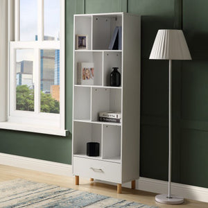 Wood Standard Bookcase with 8 Open storage compartments and one Drawer - Targen