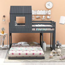 Load image into Gallery viewer, Wooden Twin Over Full Bunk Bed Loft Bed with Playhouse
