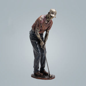 Resin Golfer Sculpture Bronze Plated Golf Statue Home Decoration - Targen