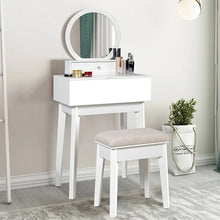 Load image into Gallery viewer, Makeup Dresser White Table Wall Mounted Vanity Mirror with 2 Drawer - Targen