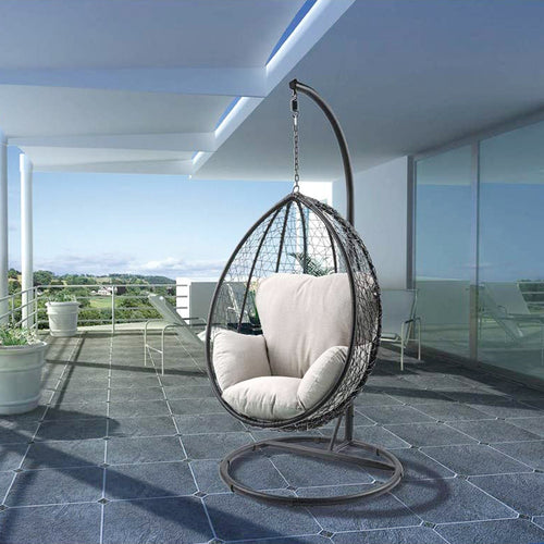 Patio Swing Chair with Stand in Beige Fabric & Black Wicker - Targen