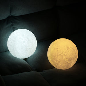 Lamp 3D Magical Two Tone Moon LED Night Light Touch Sensor - Targen
