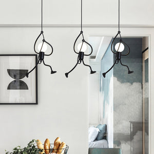 Creative Small Metal Black Chandelier Hanging Lighting