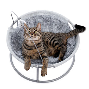 Cat Bed Soft Plush Cat Hammock Detachable Pet Bed with Dangling Ball