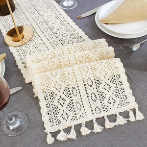 Beige Crochet Lace Table Runner With Tassel Cotton For Wedding Deco Coffee Bed - Targen