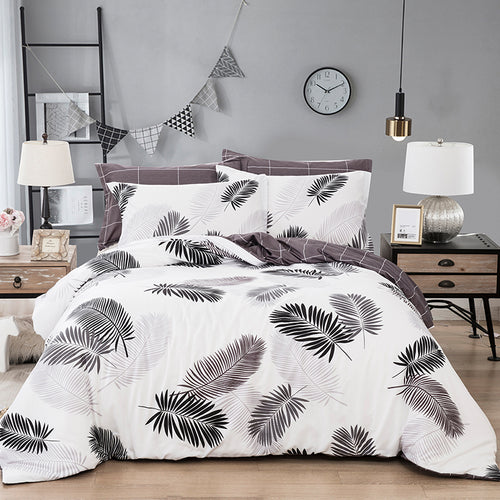 New Leaves 3D Print Linen Bed Cover Set - Targen