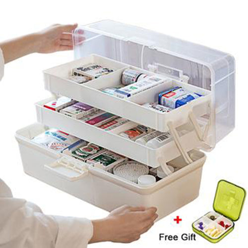 Multi-Functional Portable Medicine Cabinet Family Emergency Kit Box 3 Layers - Targen