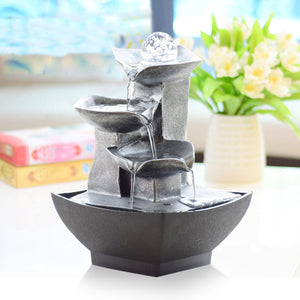 Fountain Waterfall Desktop Water Sound Table Ornaments Crafts - Targen