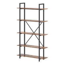 Load image into Gallery viewer, 5-Tier Industrial Bookshelves Storage Display Shelves
