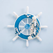Load image into Gallery viewer, Nautical Wooden Steering Boat Ship Wheel Helmsman Wall Hanging