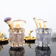 Load image into Gallery viewer, Makeup Brush Holder Brass Vintage Crystal Makeup Brush Organizer - Targen