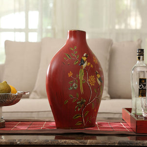 American Style Ceramic Red Flower And Bird Arrangement Vase - Targen