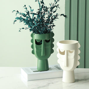 Ceramic Face Vase Decorative Pottery Flower Holder Art Decor - Targen