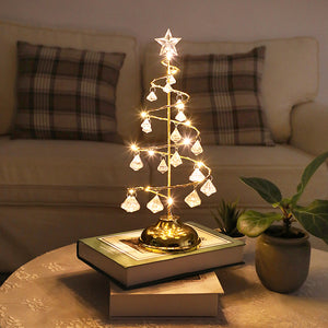 Crystal Christmas Tree Led Lights Room Copper Line Night Light - Targen