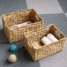 Load image into Gallery viewer, Desktop Natural Straw Rectangular Storage Basket - Targen